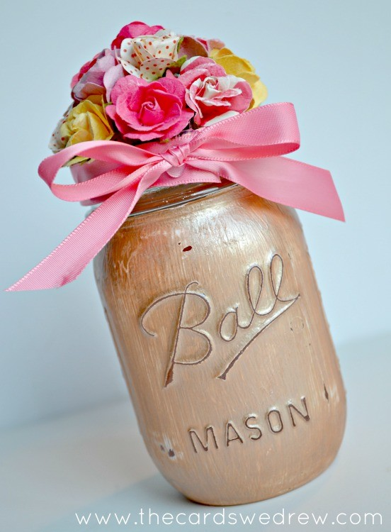 Painted Flower Mason Jar Gift Idea Blog Hop The Cards We Drew