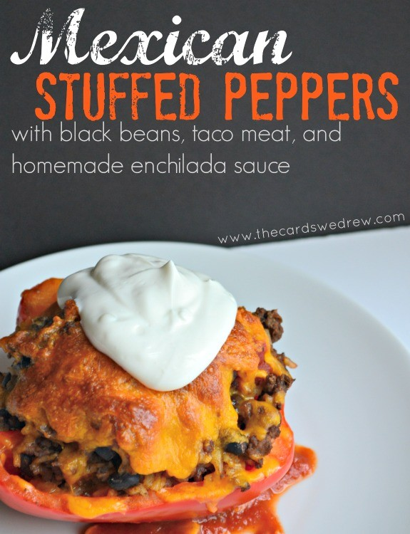 Mexican Stuffed Peppers with black beans, taco meat, and homemade enchilada sauce from The Cards We Drew #DinnerDone #shop