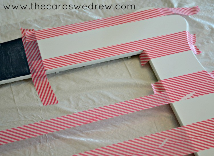 remove tape to create red and white stripes