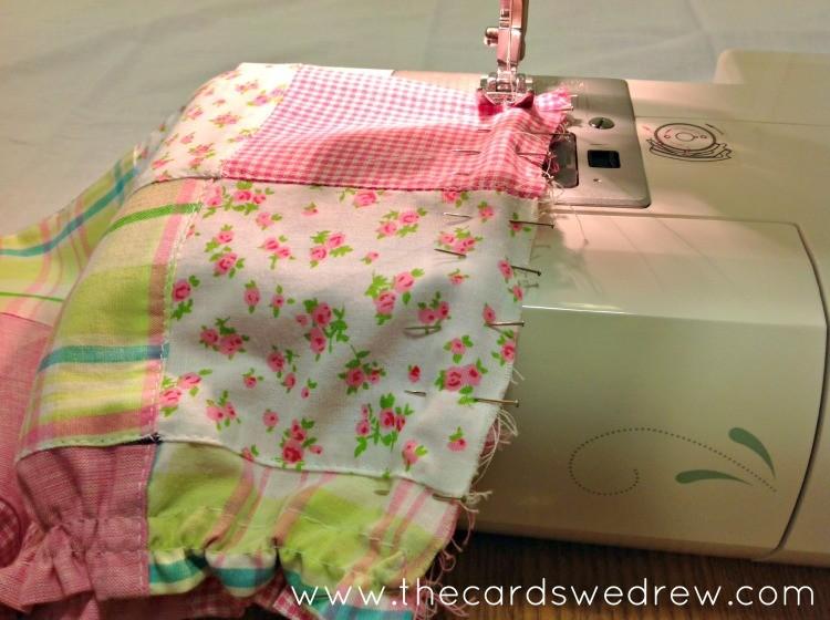 working on the onesie skirt