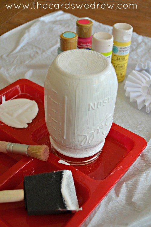 painting mason jar white