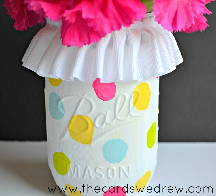 Polka Dot Mason Jar Vase {inexpensive gift ideas}The Cards We Drew