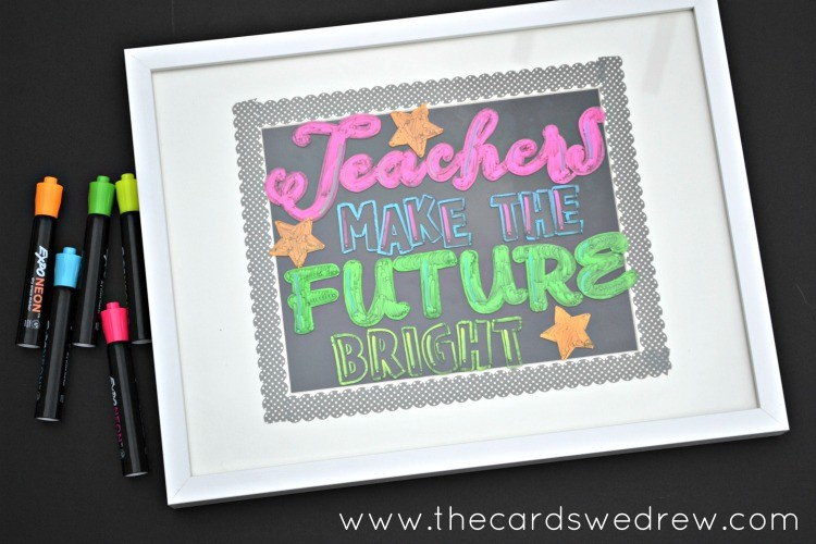 Blackboard Teacher Sign with Expo Neon Markers