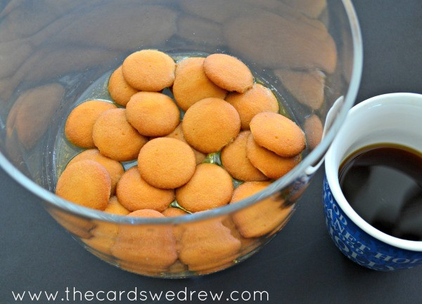 pour half the coffee over wafers