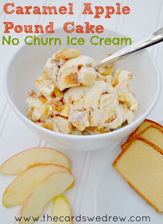 Caramel Apple Pound Cake No Churn Ice Cream from The Cards We Drew #HaveYourCake #Cbias #shop