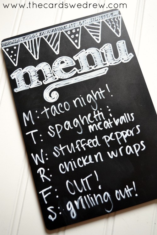 DIY Chalkboard Menu with Hazel and Ruby Handmade Chalkboard Kits