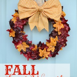 Fall Leaf Wreath from The Cards We Drew via Real Housemoms hero