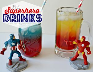 Layered Superhero Drinks from The Cards We Drew #InfinityHeroes #CollectiveBias #shop