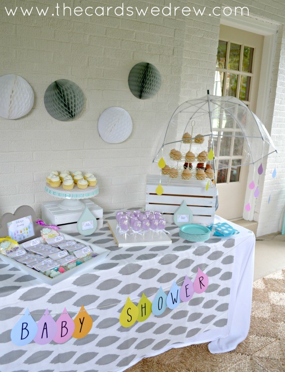 rain shower baby shower dessert table