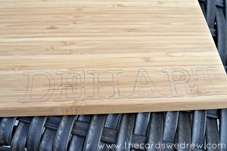 Traced Letters On Cutting Board
