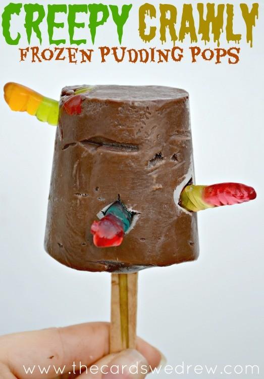 Creepy Crawly Frozen Pudding Pops from The Cards We Drew