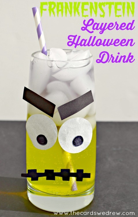 Frankenstein Layered Halloween Drink from The Cards We Drew