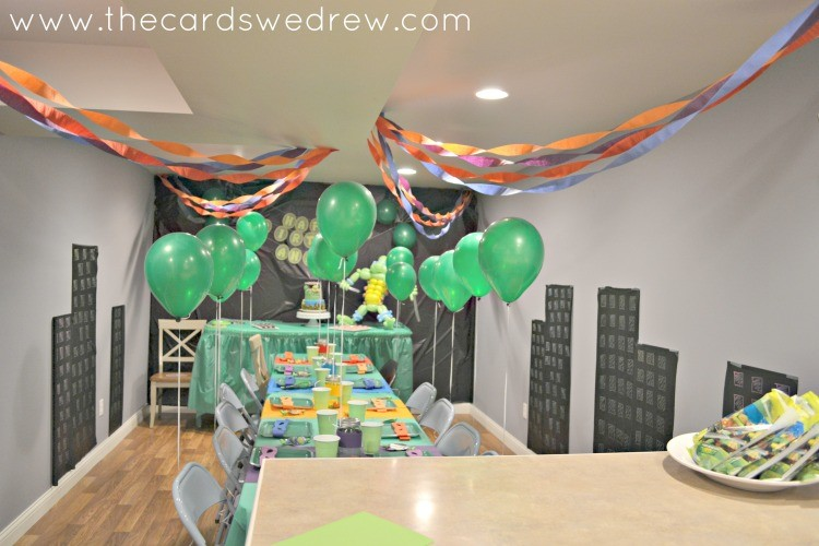 Ninja Turtle Birthday Party Setup & Teenage Mutant Ninja Turtles Party - The Cards We Drew