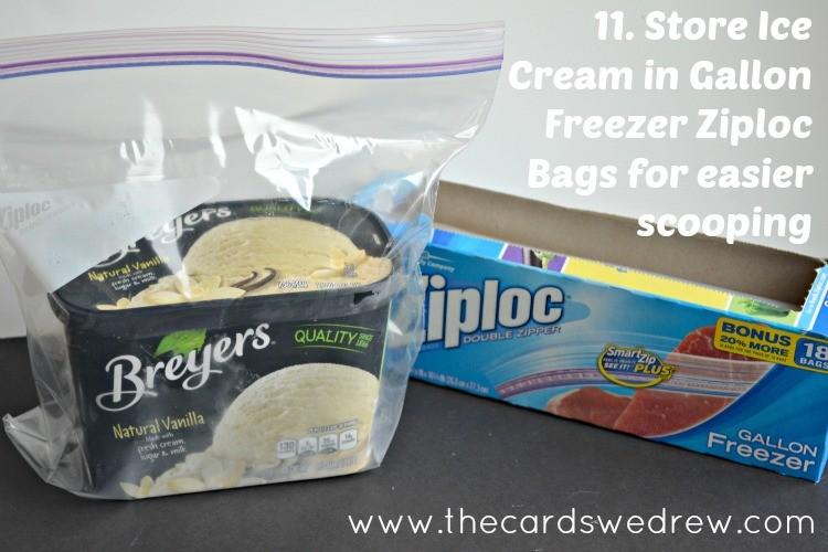 ice cream in freezer bag