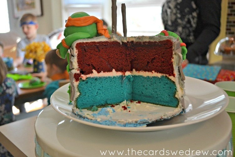 ninja turtle colored layer cake