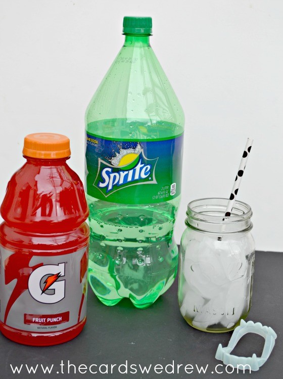 Dracula's Drink recipe - a fun and festive Layered Halloween Drink. Recipe includes sprite and red gatorade!