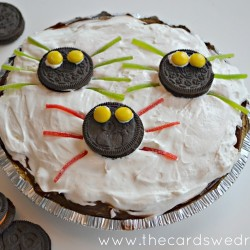 spooky spider oreo pudding pie