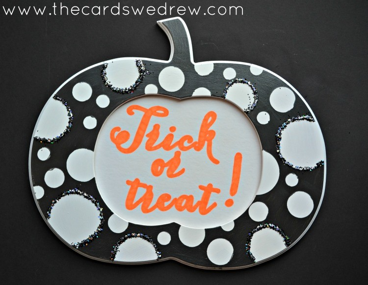 Black and white pumpkin frame the cards we drew for Trick or treat pumpkin template