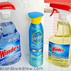 windex and pledge cleaning supplies