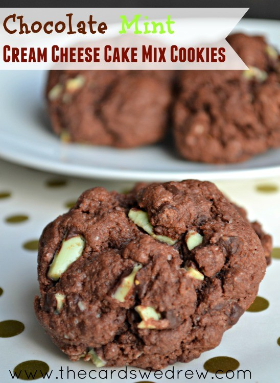 Chocolate Mint Cake Mix Cookies