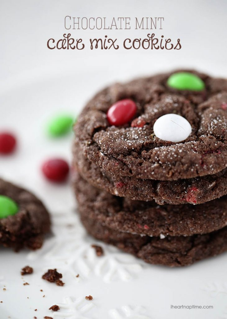Chocolate-mint-MM-cake-mix-cookies