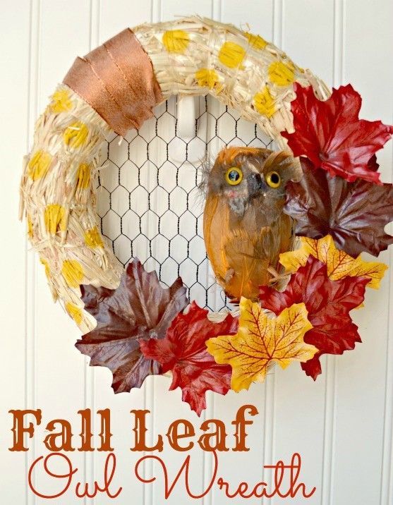 Fall Leaf Owl Wreath from The Cards We Drew via Darice