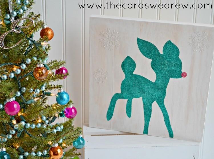 Glitter Reindeer Sign
