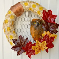 fall leaf owl wreath