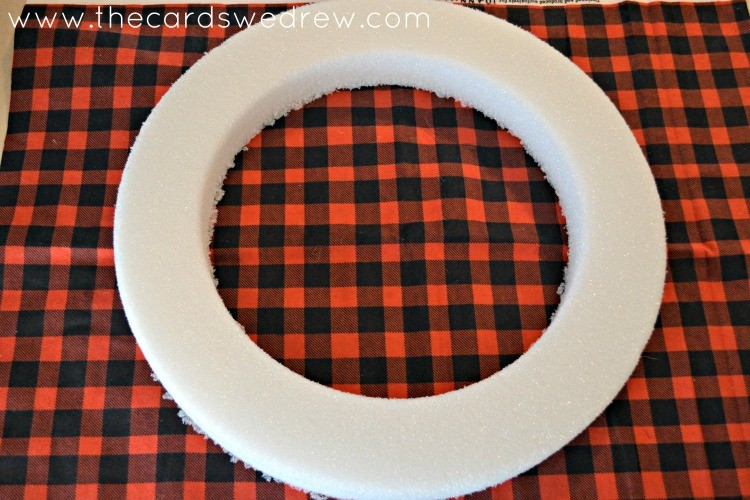 plaid fabric and floracraft wreath form