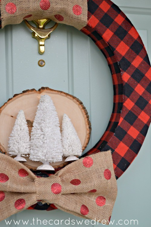 red plaid and polka dot holiday wreath