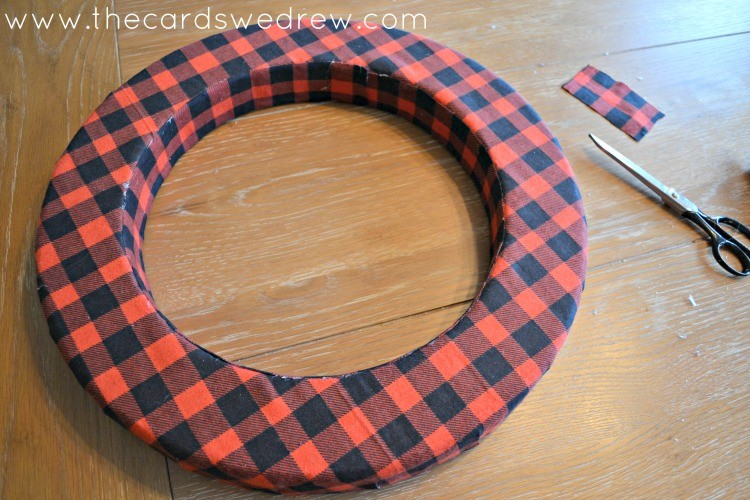 red plaid wreath fully covered
