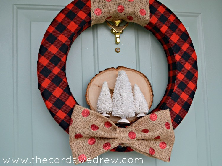 rustic wood slice holiday wreath