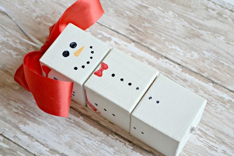 Diy Snowman Wood Block Ornament The Cards We Drew