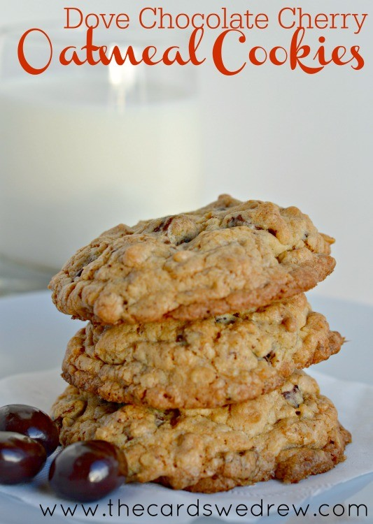 Dove Chocolate Cherry Oatmeal Cookies from The Cards We Drew