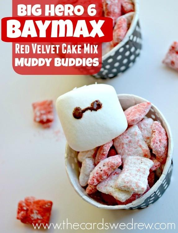 Baymax Red Velvet Cake Mix Muddy Buddies #BigHero6Release #ad #BigHero6Dessert