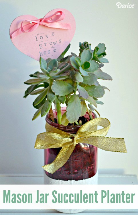 DIY-succulent-planter-diy-mason-jar-gifts-Darice & Mason Jar Succulent Gift Idea for Valentineu0027s Day - The Cards We Drew