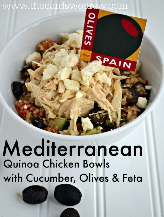 Mediterranean Quinoa Chicken Bowls with Cucumber, Olives, and Feta from www.thecardswedrew.com