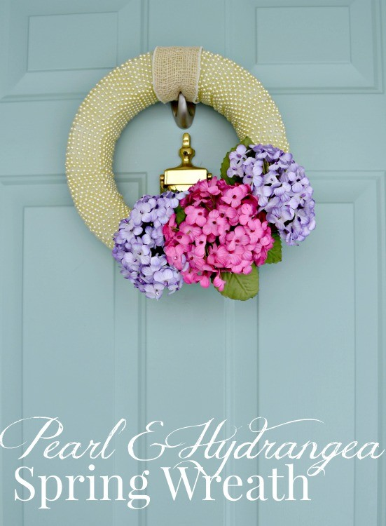 Pearl and Hydrangea Spring Wreath from The Cards We Drew and Darice