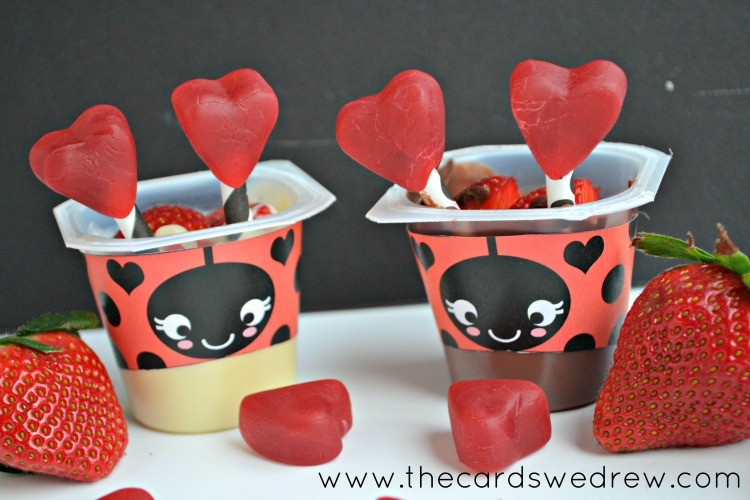 love bug valentine's pudding cups