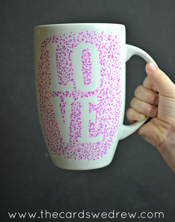 pink dotted sharpie LOVE mug
