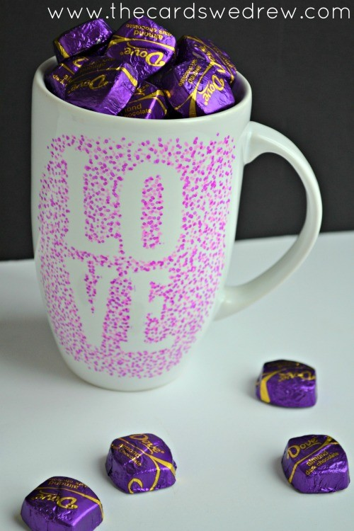 valentines mug filled with candy