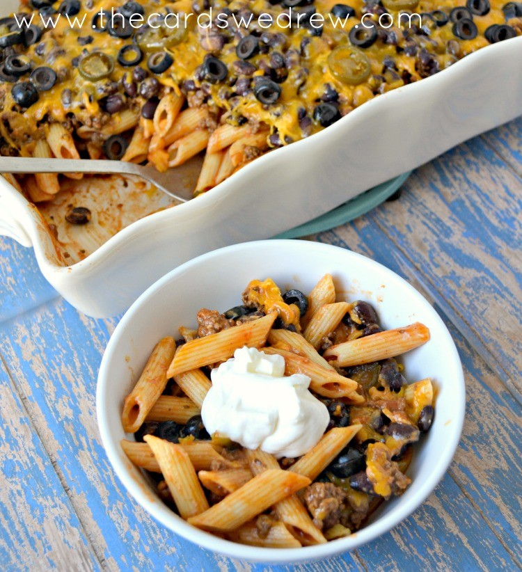 Easy 30 Minute Beef Enchilada Pasta Bake