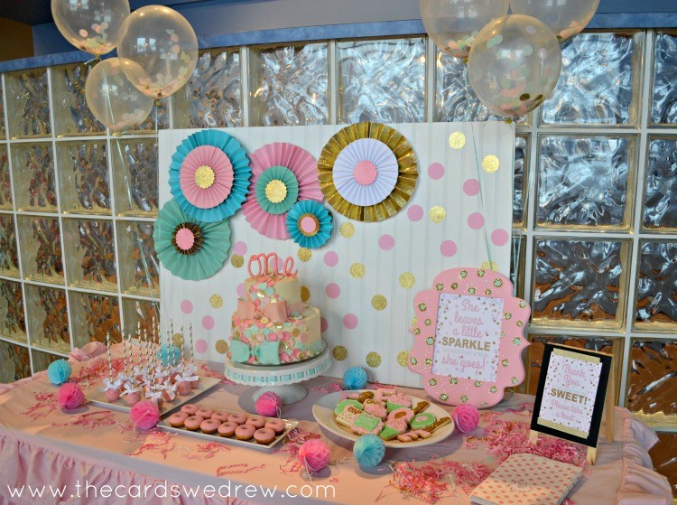 Pink Mint And Gold Confetti Birthday Party The Cards We Drew