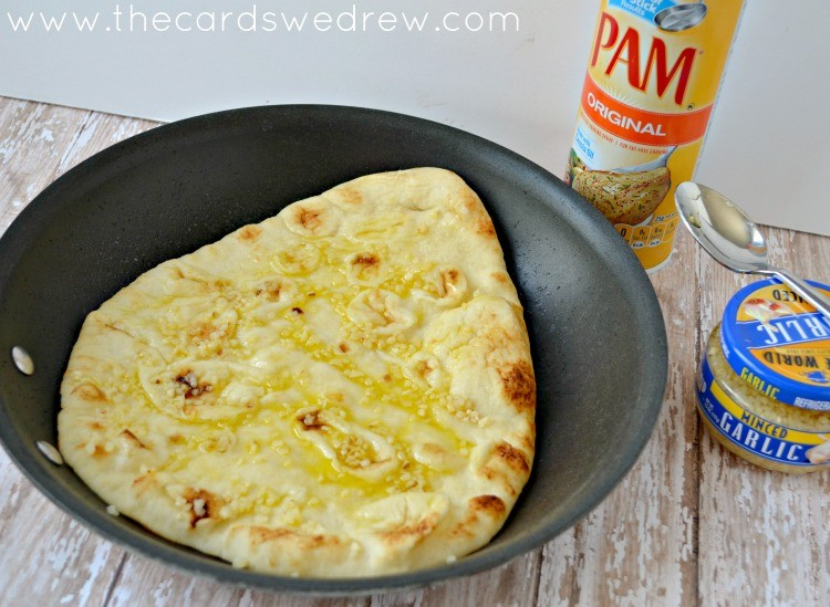 cook flatbread in skillet with garlic and PAM