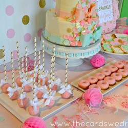 gold and pink dessert table