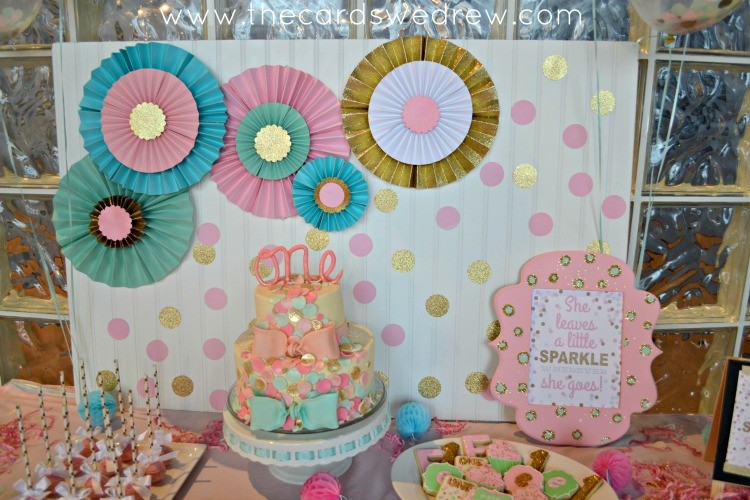 Mint And Pink Confetti First Birthday
