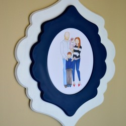 navy blue and white wood frame