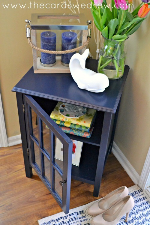 navy blue front table