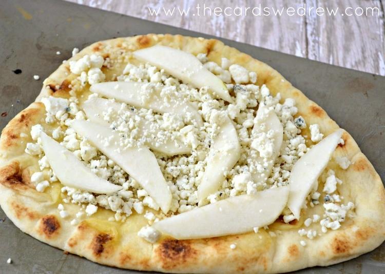 uncooked pear flatbread pizza