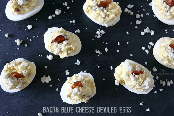 Bacon Blue Cheese Deviled Eggs from Nutmeg Nanny